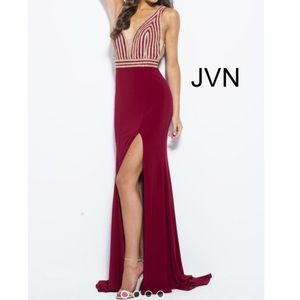Jovani JVN51867A Red Rhinestone Prom Gown Size 6